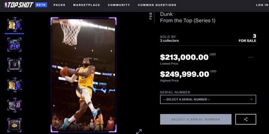 Карточки NBA Topshots NFT