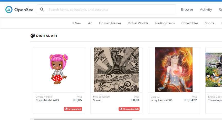 Лоты с цифровым искусством пользователей на OpenSea